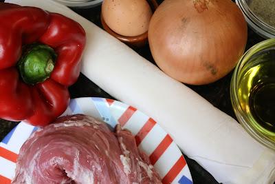 Ingredientes para solomillo con verduras envuelto en hojaldre