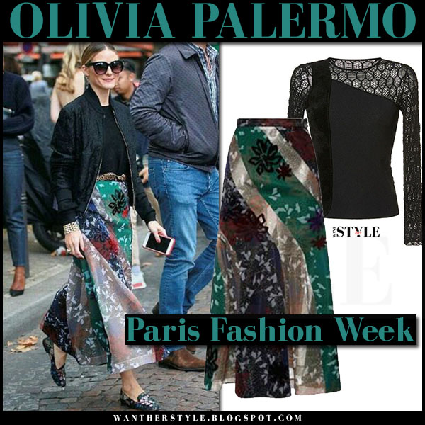Olivia Palermo in black bomber jacket and multi colour floral print skirt roland mouret paris fashion week what she wore