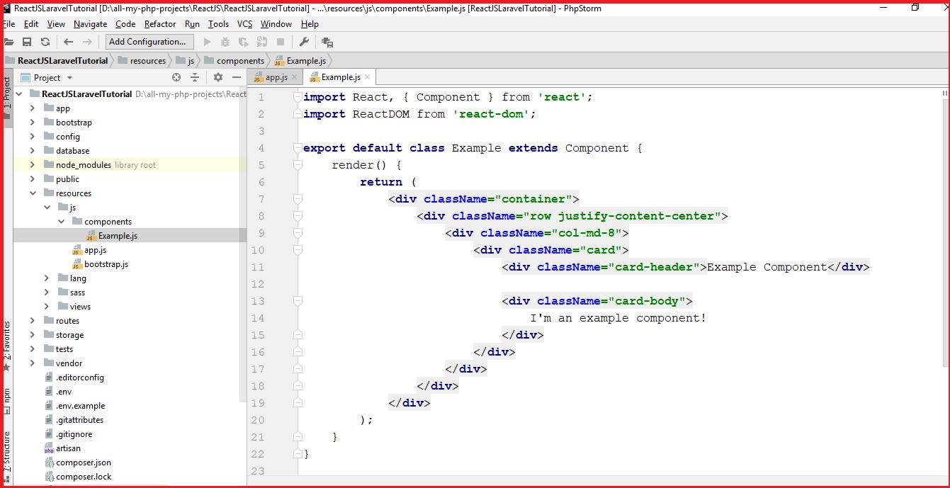 Code Samples: Install ReactJS along with Laravel 5 X