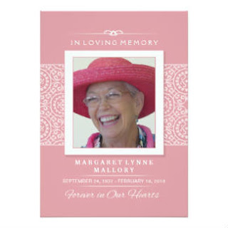 Memorial Service Invitation - Elegant Pink & White