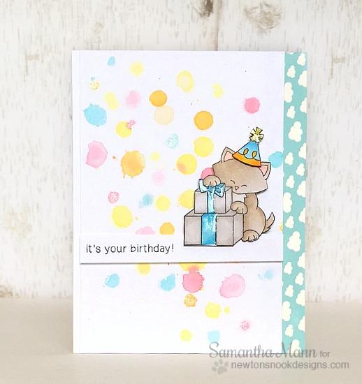 Cat Birthday Card by Samantha Mann | Newton's Birthday Bash stamp set by Newton's Nook Designs