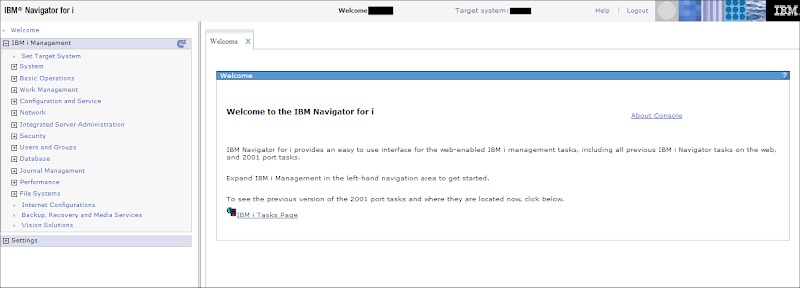 IBM Navigator for i welcome