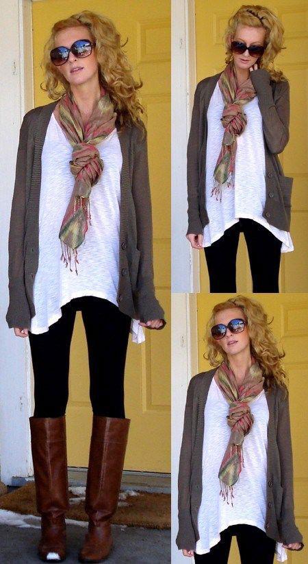 4. A long t-shirt and loose, long cardigan look perfect ...