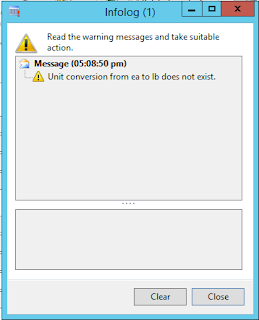 Infolog of Unit conversion error that conversion between unit classes does not exist.