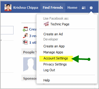 facebook settings popup
