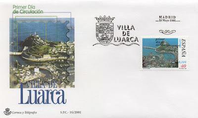 Sobre PDC del sello de Luarca con matasellos de Madrid