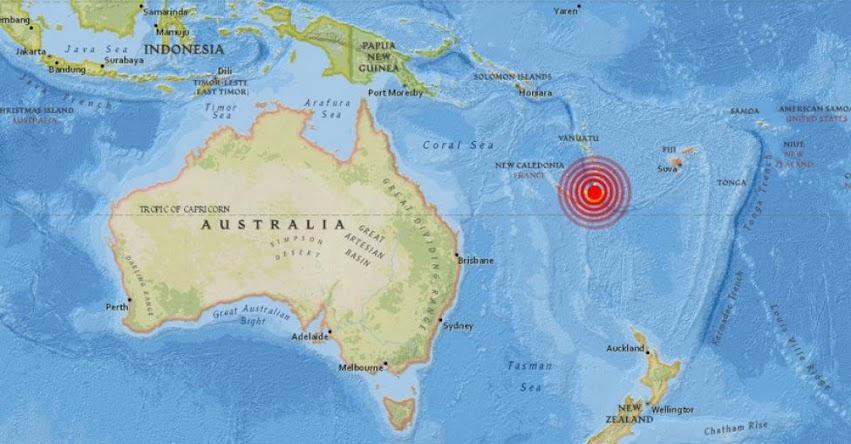 TERREMOTO EN NUEVA CALEDONIA de magnitud 7.3 Grados - Alerta de Tsunami Océano Pacífico (Hoy Domingo 19 Noviembre 2017) Sismo Temblor EPICENTRO Tadine - Isla Maré - Vanuatu - USGS