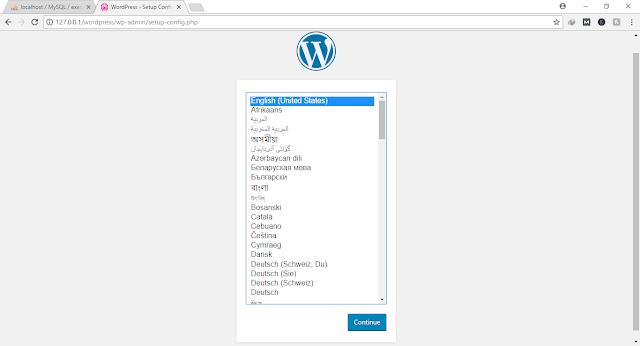 wordpress installation first screen