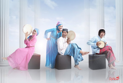 konsep foto di studio berhijab