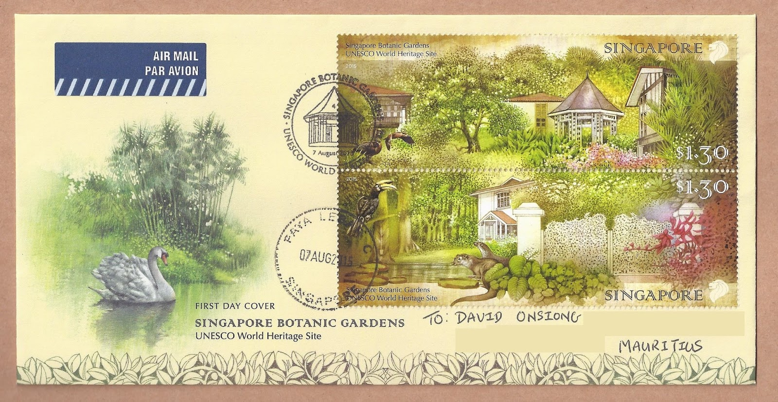 First Day Cover, The Singapore Botanic Gardens