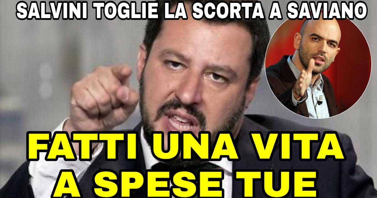 """Salvini toglie finalmente la scorta a Saviano """"Fatti una vita a spese tue"""" Siete d accordo?"""