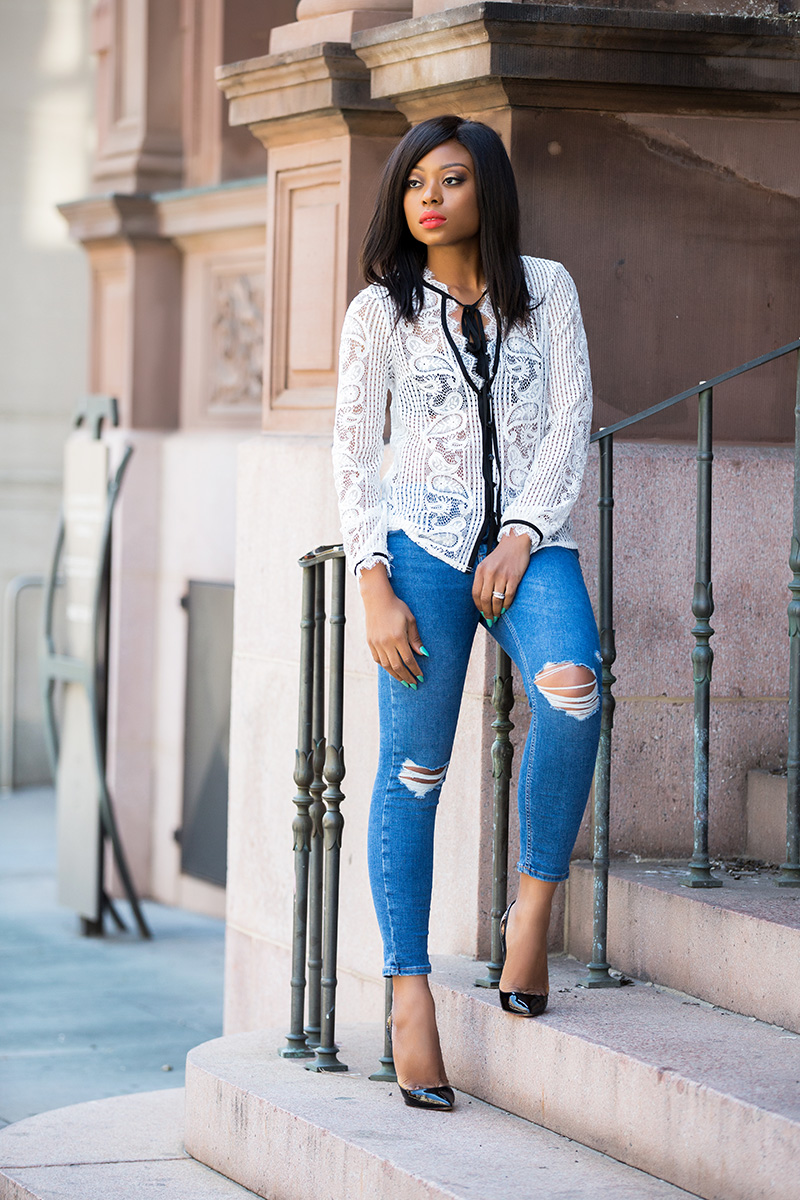 casual look, topshop skinny jeans, lace blouse, www.jadore-fashion.com