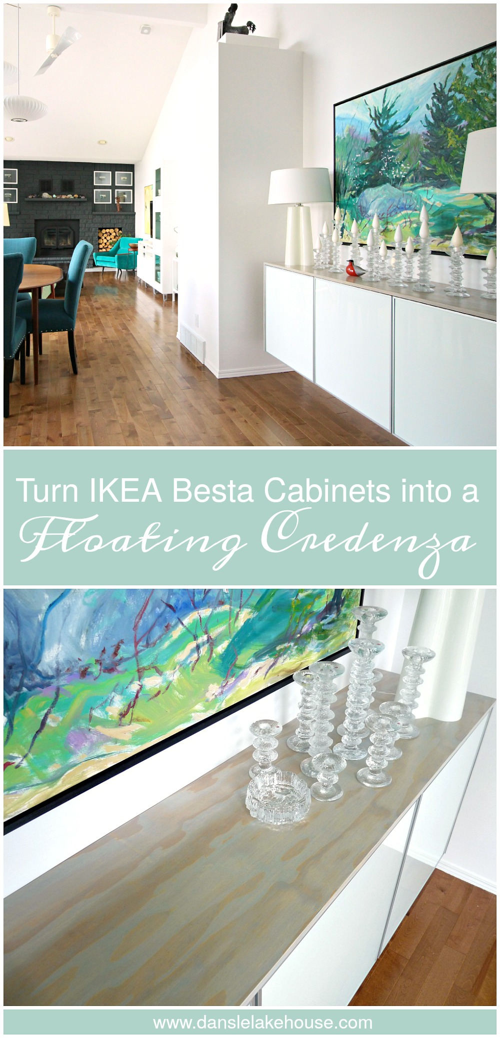 "How to make a floating credenza - or ""fauxdenza - using three Ikea Besta cabinets and plywood // www.danslelakehouse.com"