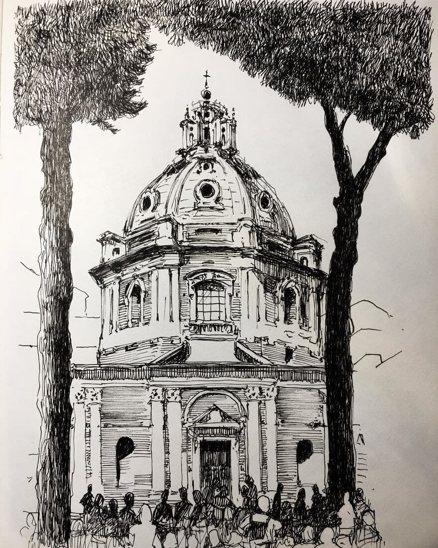 07-Baroque-Architecture-Mark-Poulier-Urban-Sketches-Drawn-on-Site-www-designstack-co