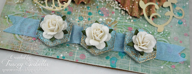 Shabby Mixed Media Card for Scraps of Elegance, Petaloo Flowers, BoBunny, Epiphany Crafts Hex Bubbles