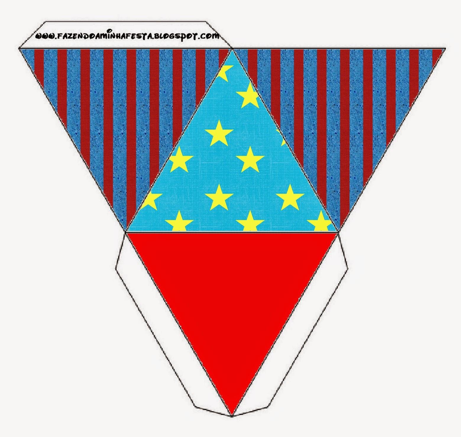 Caja con forma de pirámide de Estrellas sobre Fondo Celeste.