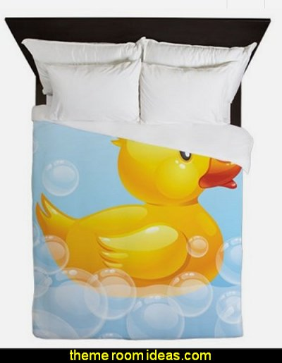 Duck in Bubbles Queen Duvet  rubber duck theme bedrooms - rubber duck decor - yellow duck theme decorating ideas - rubber duck bedding - duck bedding - ducky bedding - rubber duck wall decal stickers