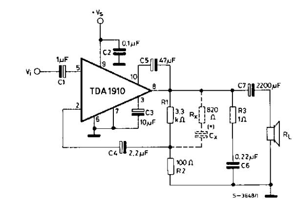 10w audio amplifier with tda1910 circuit diagram