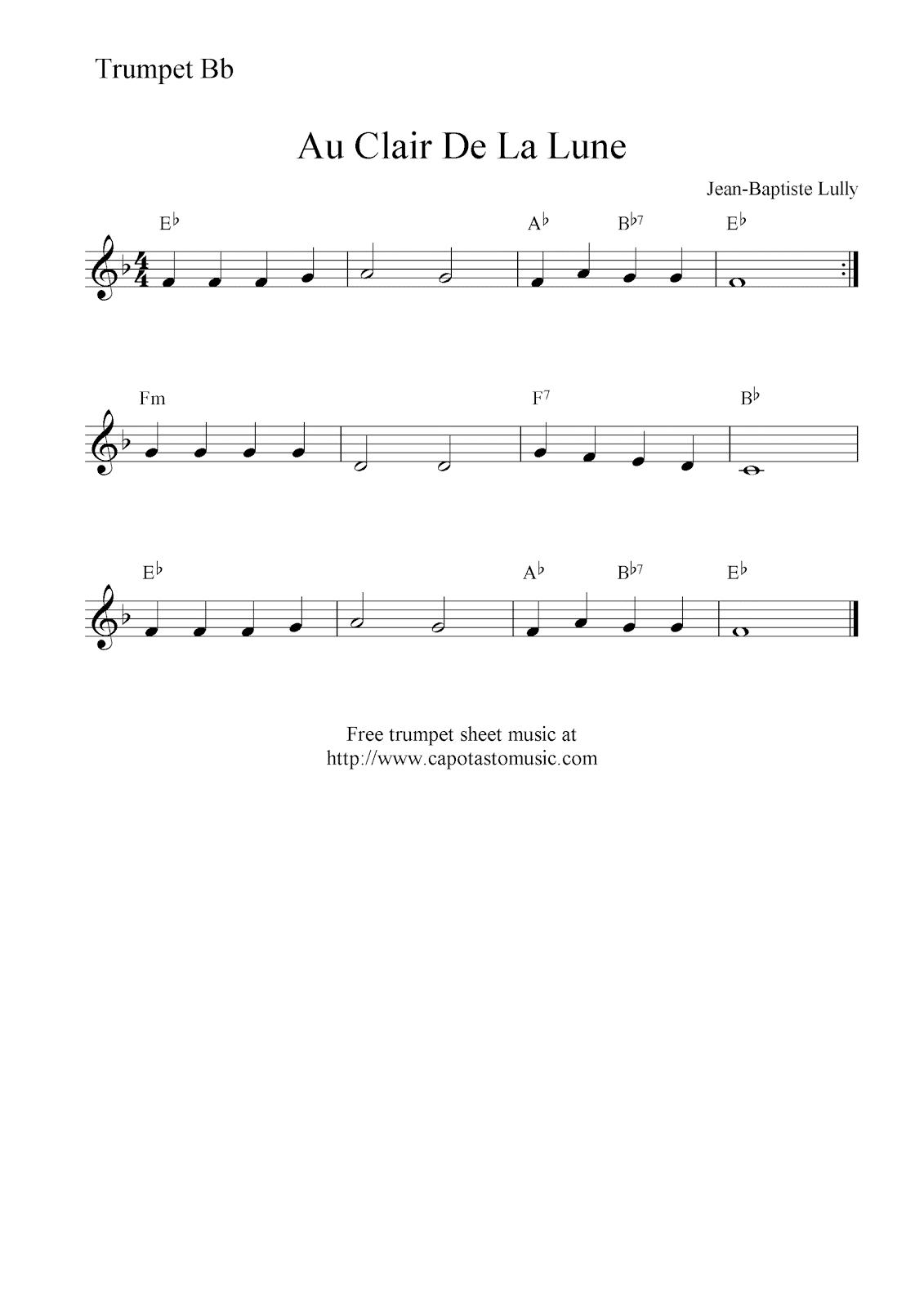 Notes Au Clair De La Lune : notes, clair, Printable, Sheet, Music:, Clair, Lune,, Trumpet, Music, Notes