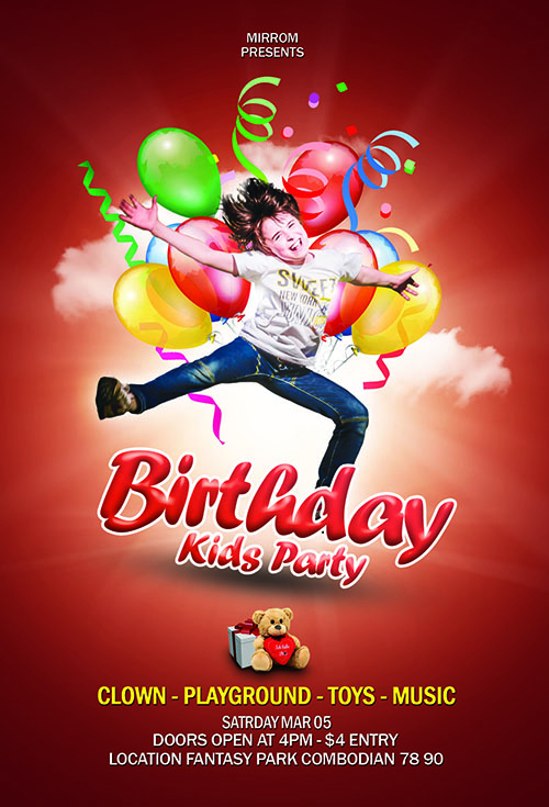 How To Create a Birthday Party Kids Flyer In Photoshop