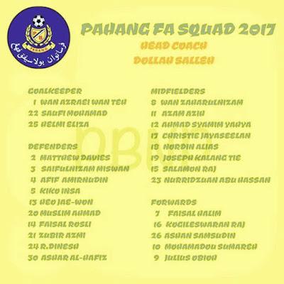 Senarai rasmi pemain Pahang FA 2017 beserta no jersi