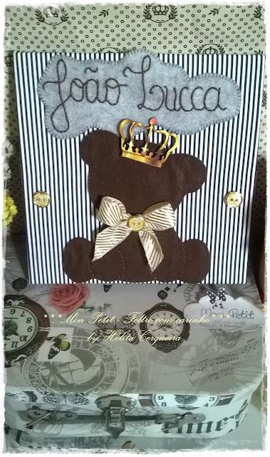 quadrinho-tela-enfeite de porta-em feltro-urso-príncipe-João Lucca