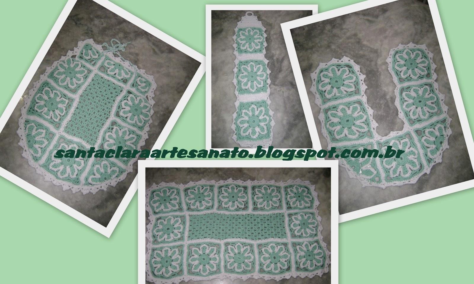 Jogo De Banheiro Verde E Branco : Santa clara artesanato jogo de banheiro verde e branco