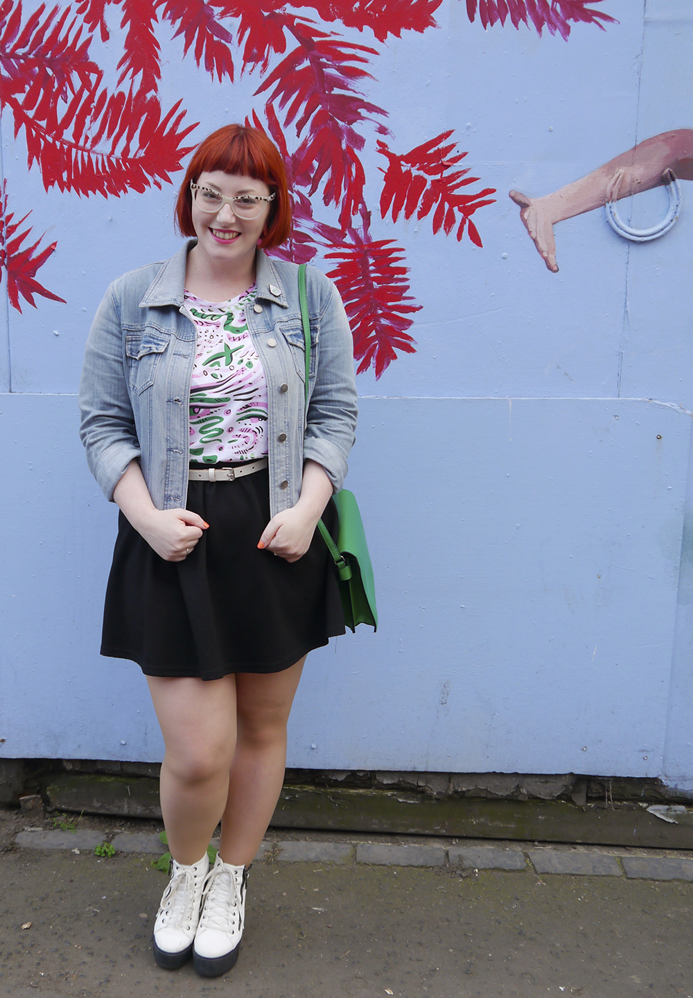 Wardrobe Conversations, styled by, Scottish Blogger, Edinburgh blogger, red hair, ginger bob, girl with glasses, Spex pistol glasses, Monki patterened tshirt, bright patterened tshirt, bright green handbag, black skater skirt, white lace up boots, Edinburgh street style, Jewellery club, cactus jewellery, cacti jewellery, plant jewellery, subscription box, jewellery subscription box, illustrated jewellery, denim jacket, Kirsty Whiten, Kirsty Whiten Street art, street art Edinburgh, House of Wonderland, #monkistyle
