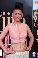 Akshara Haasan in Peachy Crop Top Choli Skirt at IIFA Utsavam Awards 18.JPG