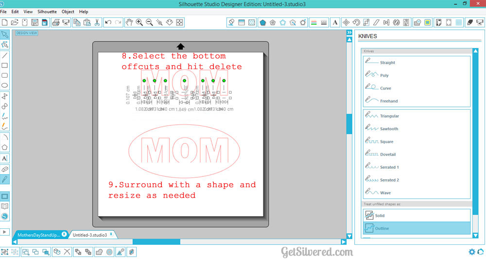 Silhouette Studio, free cut file, Silhouette tutorial, 3D word art, knife tool