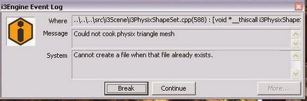 I3Engine Event Log Could not cook physix triangle mesh