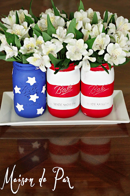 Simple American Flag Chalk Painted Mason Jars - Maison de Pax