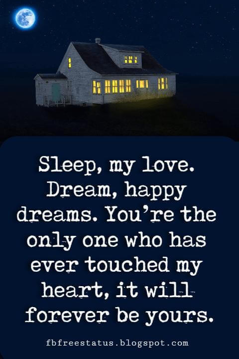 Good Night Love Quotes, Sleep, my love. Dream, happy dreams. You're the only one who has ever touched my heart, it will forever be yours.