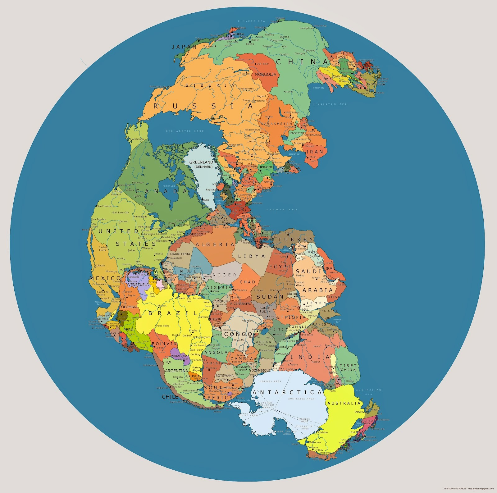 Pangea map with international borders