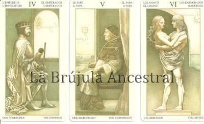 Emperador, Papa y Enamorados del mazo de Tarot Leonardo Da Vinci