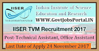 Indian Institute of Science Education and Research Recruitment 2017– 27 Technical Assistant, Office Assistant