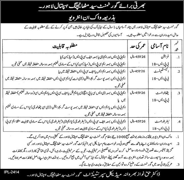 Doctors Jobs in Government Syed Mitha Teaching Hospital Lahore