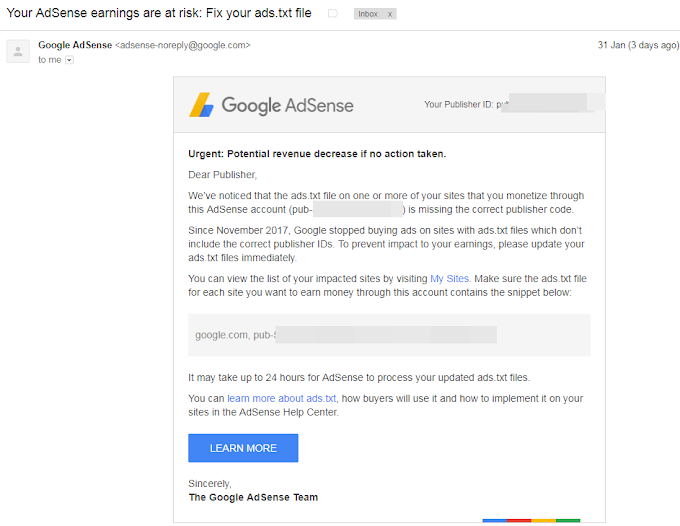 CARA MUDAH MENGATASI MASALAH PUBLISHER ID MISSING FROM ADS.TXT FILE GOOGLE ADSENSE