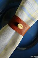 LoveLea's brown leather napkin ring, dark shade
