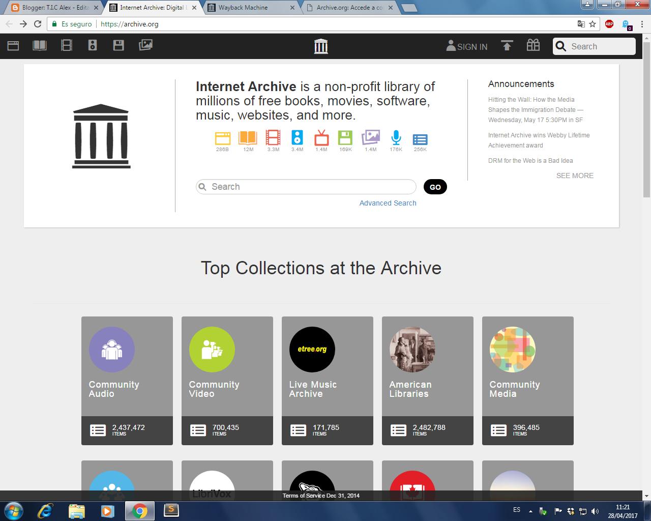 T I C Alex: 4- Busqueda de información en archive org, cache de