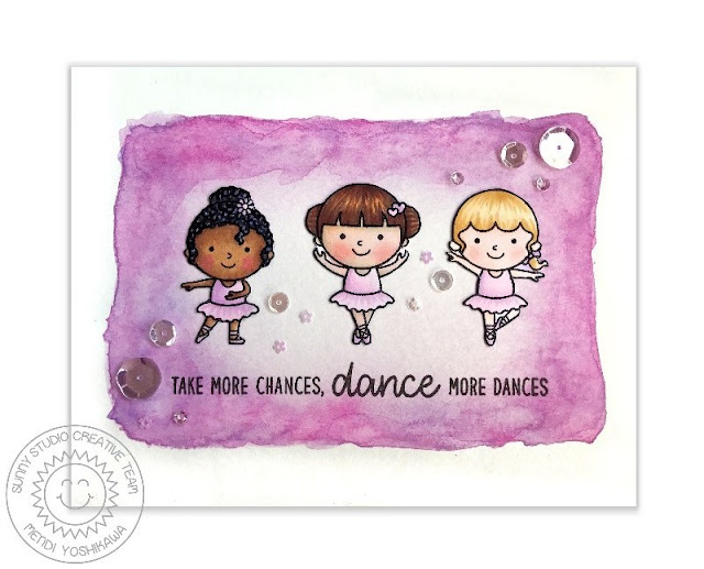 Sunny Studio Stamps: Tiny Dancers Ballerina Dance Card by Mendi Yoshikawa