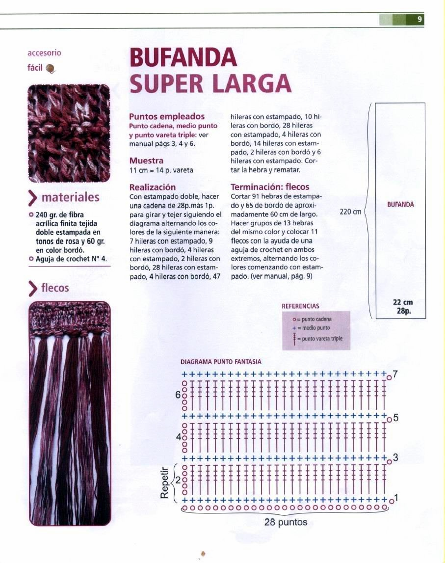 Bufanda de ganchillo super larga