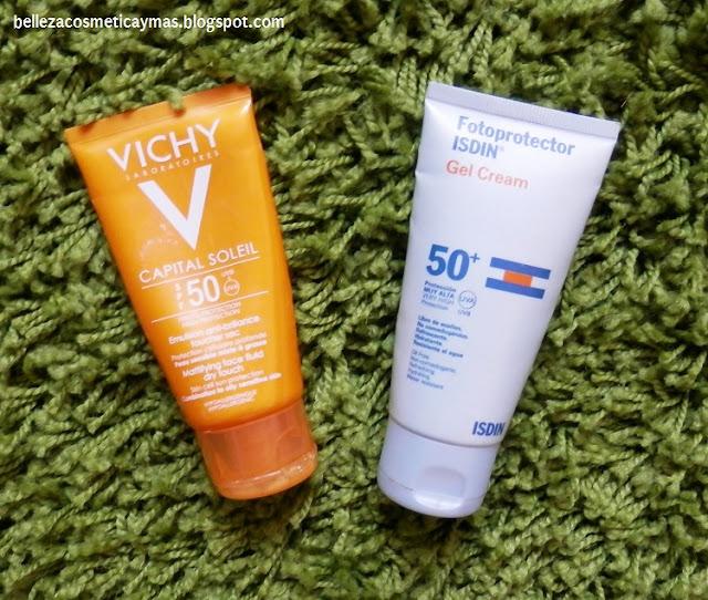 Protectores solares Isdin Gel Cream y Vichy Capital Soleil SPF50