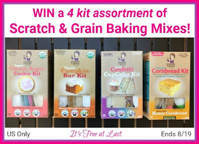 Enter the Scratch & Grain Baking Mixes Giveaway. Ends 8/19