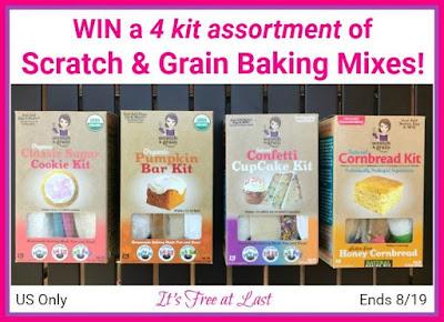 Enter the Scratch & Grain Baking Mixes Giveaway. Ends 8/19