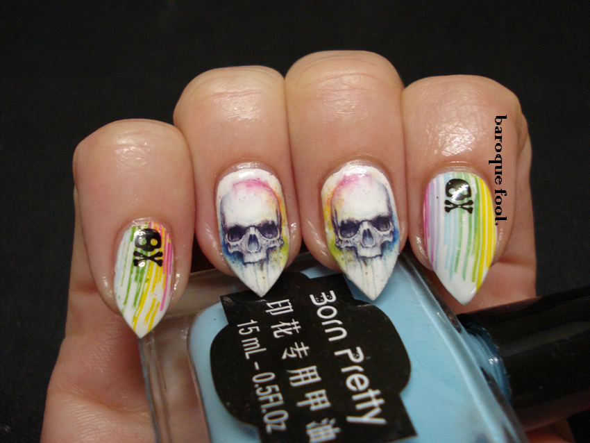 baroque fool: BornPretty Skull Store Water decals Review