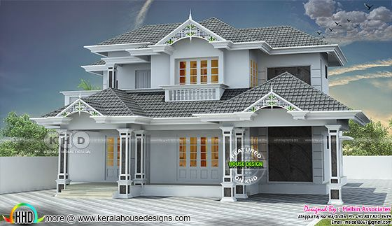 Sloping roof style decorative 2600 sq-ft Kerala home