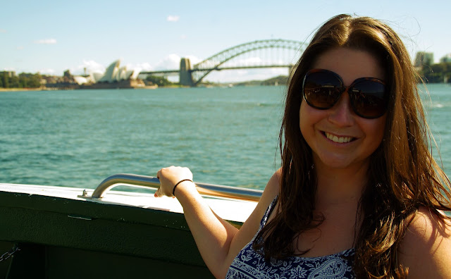 The Aussie flashpacker on a ferry in Sydney Harbour