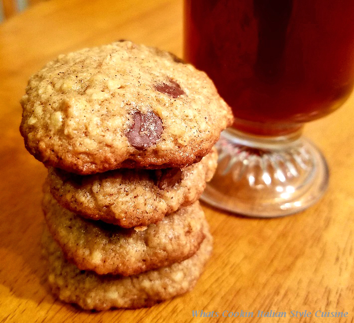 these an old fashioned homemade oatmeal cookie with a great classic roast  of coffee in a glass mug
