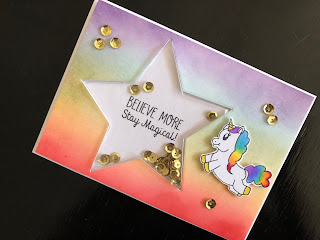 Rainbow unicorn shaker card